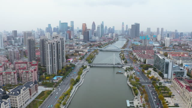 aerial view of river and skyline - hai river stock videos & royalty-free footage