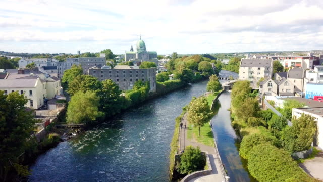 Aerial view of River Corrib/ Galway city