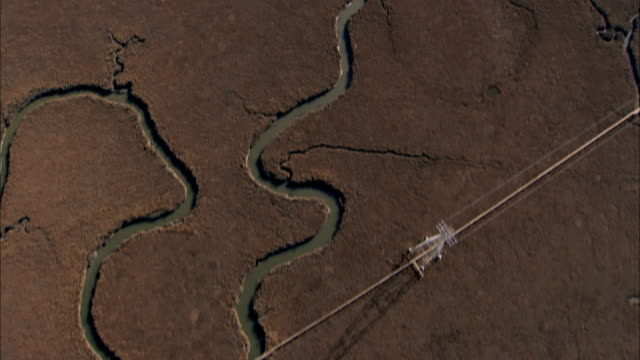 Aerial view of River Delta from ocean USA