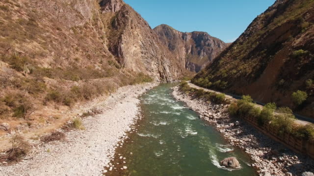Aerial view of river in remote gorge