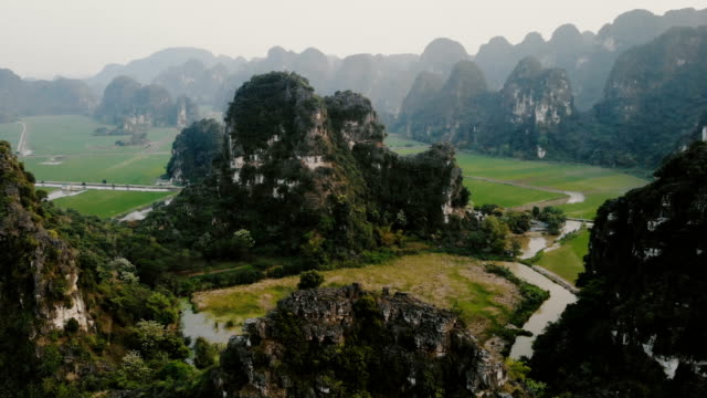 aerial view of river in the mountains in vietnam - vietnam stock videos & royalty-free footage