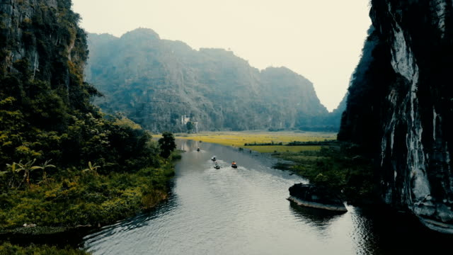 vidéos et rushes de vue aérienne de river dans les montagnes au vietnam - vietnam