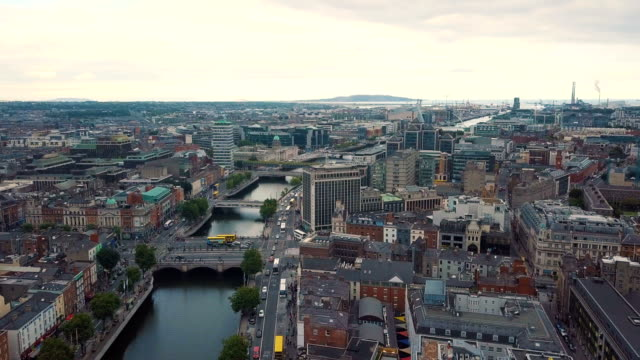 Aerial view of River Liffey and city of Dublin towards / Ireland