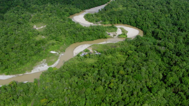 aerial view of river meander passing through forest, colombia - medellin colombia stock videos & royalty-free footage