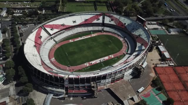 vídeos de stock e filmes b-roll de aerial view of river plate´s monumental antonio vespucio liberti stadium on march 27, 2020 in buenos aires, argentina. national government has... - argentina