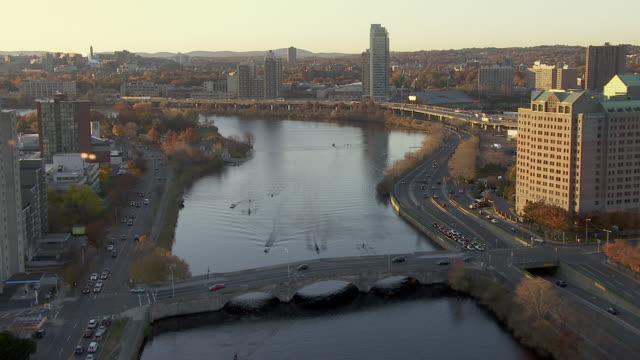 aerial view of river street bridge over charles river, cambridge, massachusetts, united states of america - river charles stock videos & royalty-free footage