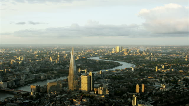 Aerial view of River Thames and Shard London