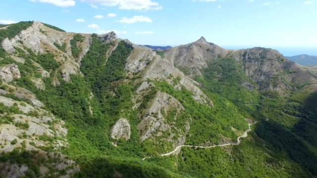 Aerial view of road in mountains