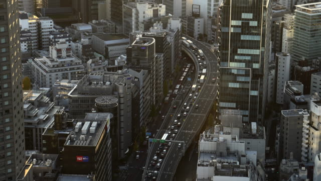aerial view of road in tokyo city highway | tilt-shift - tilt shift stock videos & royalty-free footage