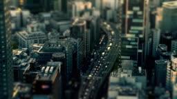 Aerial view of road in Tokyo city highway | tilt-shift