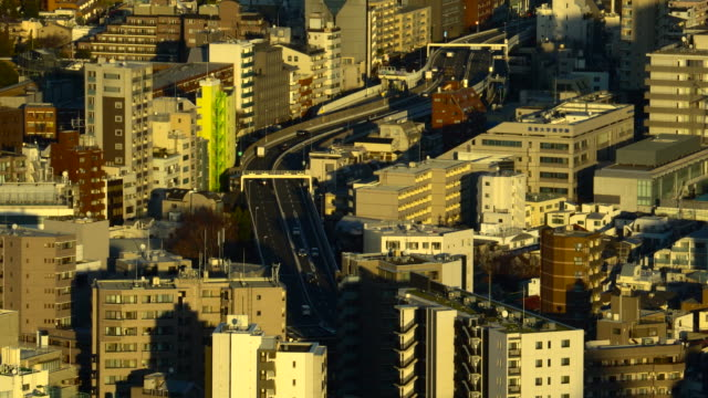 Aerial view of road in Tokyo city highway