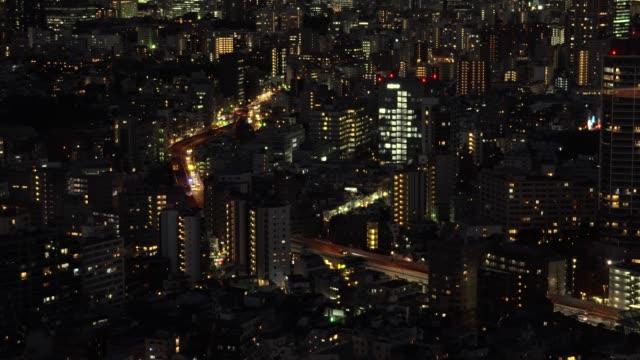 aerial view of road in tokyo city highway - plusphoto stock videos & royalty-free footage