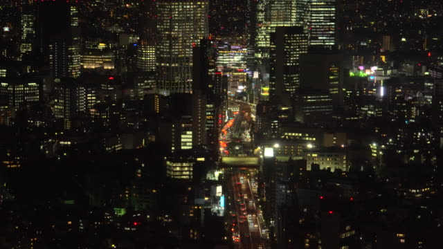 aerial view of road in tokyo city highway - plusphoto stock videos & royalty-free footage