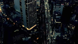 Aerial view of road in Tokyo city highway