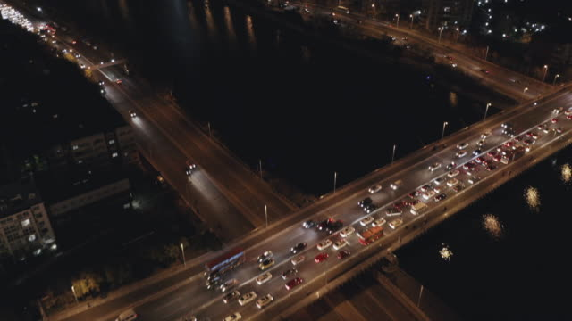aerial view of road intersection and downtown - hai river stock videos & royalty-free footage