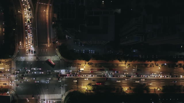 aerial view of road intersection - liyao xie stock videos & royalty-free footage