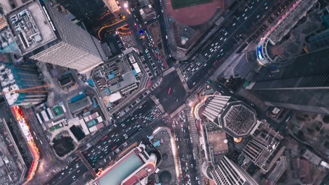 aerial view of road intersection - nanjing road stock videos & royalty-free footage