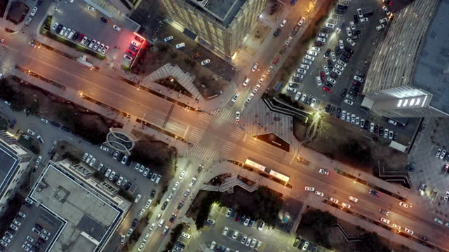 aerial view of road intersection - viale video stock e b–roll