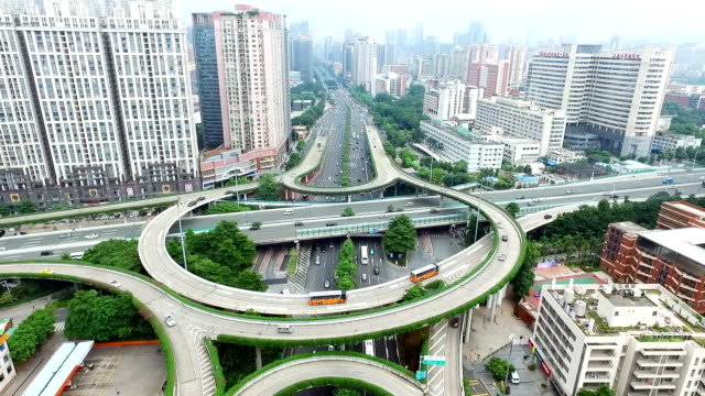 aerial view of road junction in midtown of modern city - guangzhou stock videos & royalty-free footage