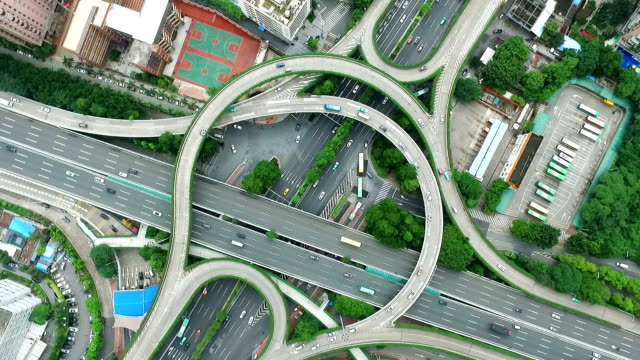 aerial view of road junction in midtown of modern city