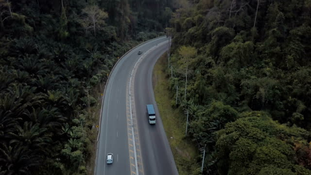 Aerial view of road tirp with mountain in Thailand