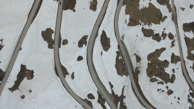 Aerial view of roads amidst snow covered rocky landscape, Nufenen Pass, Switzerland