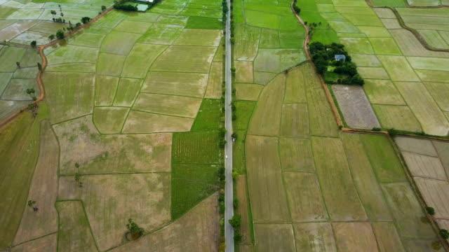 Luchtfoto van Roadtrip Keang Krachan rijstveld in de ochtend omgeven door groene vegetatie en natuur. Begrip: boer, avontuur, reizen en vakanties.