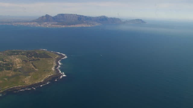 Aerial view of Robben Island, Western Cape Province, South Africa