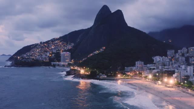 aerial view of rocinha and leblon / rio de janeiro, brazil - レブロン点の映像素材/bロール