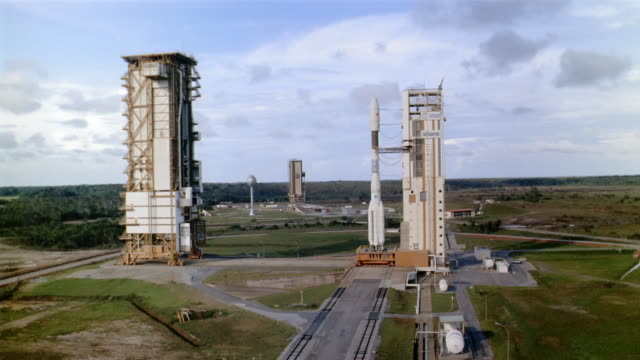Aerial view of rocket on launch pad at the Guiana Space Centre / Kourou, French Guiana