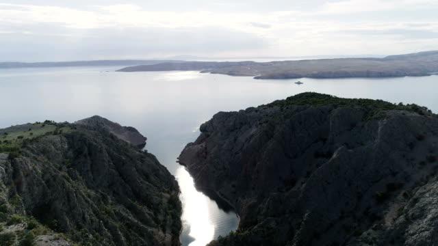 Aerial view of rocky coast with estuary. Zavratnica Bay