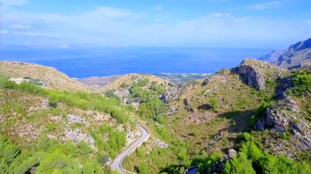 Aerial View of rocky coastline near by village Betlem on north coast of Balearic Islands Majorca / Spain
