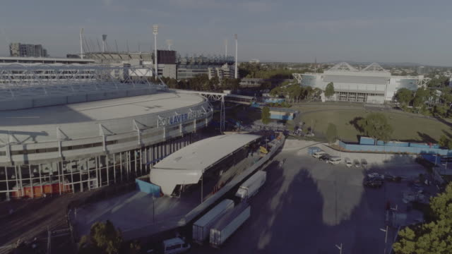 aerial view of rod laver arena, melbourne victoria australia - tennis stock videos & royalty-free footage