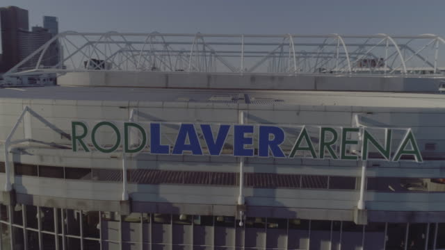 aerial view of rod laver arena, melbourne victoria australia - international tennis federation stock videos & royalty-free footage