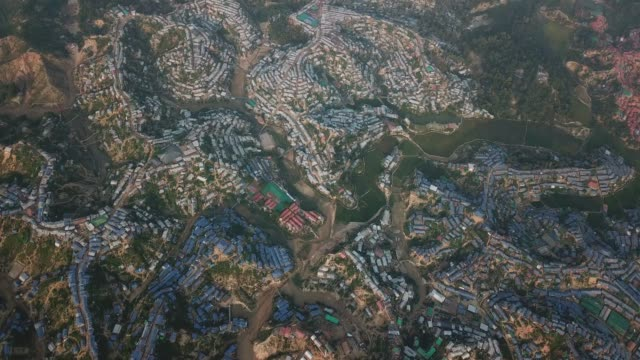 aerial view of rohingya refugee camp bangladesh - cox basar stock-videos und b-roll-filmmaterial