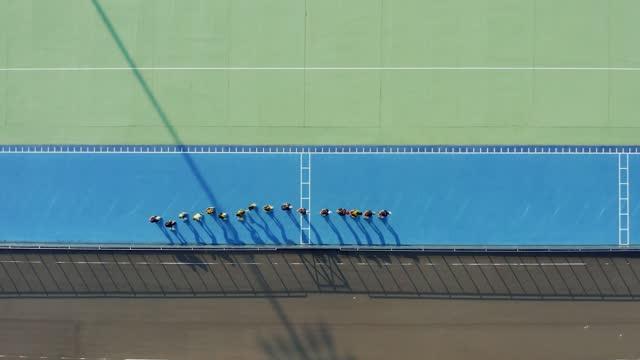 aerial view of roller skating or inline skating rink - aerial stock videos & royalty-free footage
