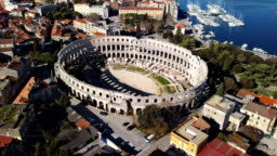 Aerial view of Roman amphitheatre in Pula. Istria, Croatia