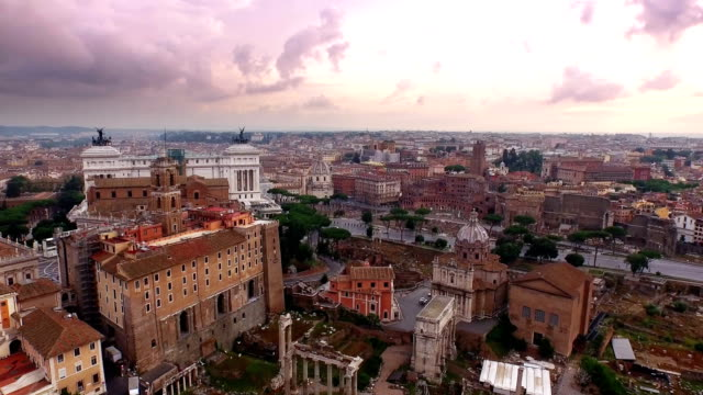 aerial view of roman forum - rome italy stock videos and b-roll footage