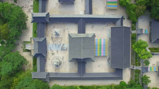 aerial view of roof tile of bulguksa temple (famous tourist attraction) and forest - gyeongju stock videos and b-roll footage