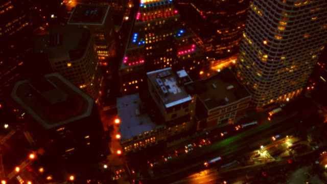 aerial view of rooftops at night. boston, massachusetts. - mpeg video format stock videos & royalty-free footage