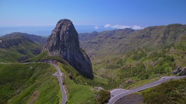 aerial view of roque de agando - garajonay national park on canary islands la gomera - isole dell'oceano atlantico video stock e b–roll