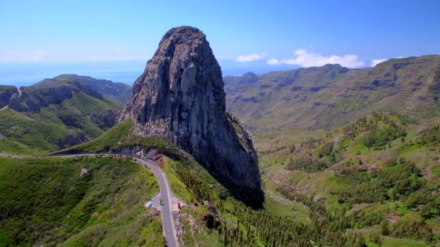 Aerial View of Roque de Agando - Garajonay National Park on Canary Islands La Gomera