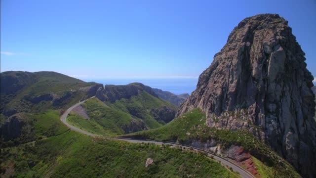Aerial View of Roque de Agando - Garajonay National Park on Canary Islands La Gomera