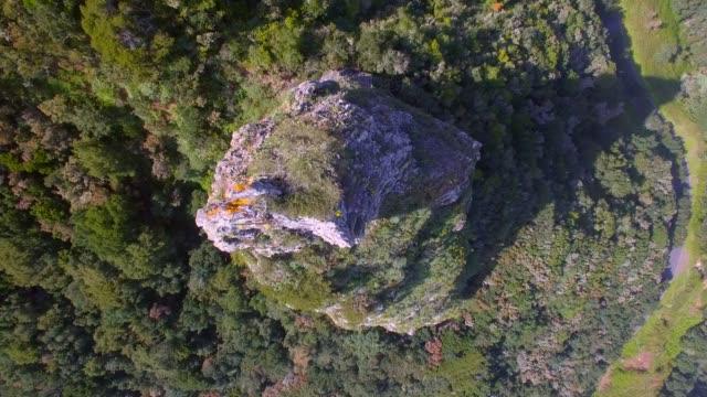 vídeos y material grabado en eventos de stock de aérea vista de roque del rejo cerca de hermigua - parque nacional de garajonay en la gomera islas canarias - mirar hacia abajo