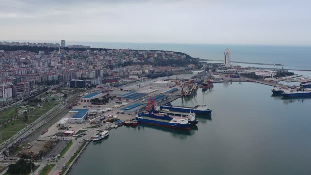 aerial view of ro-ro ship in a commercial port. - approaching stock videos & royalty-free footage