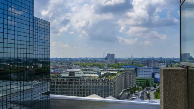 aerial view  of rotterdam city skyline - built structure stock videos & royalty-free footage