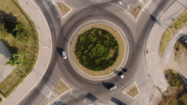 aerial view of roundabout - road sign stock videos & royalty-free footage