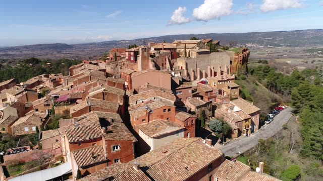 aerial view of roussillon - luberon video stock e b–roll