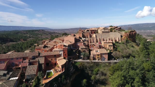 aerial view of roussillon - luberon stock-videos und b-roll-filmmaterial