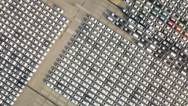 ha, ws aerial view of rows of identical cars / taipei, taiwan - stationary stock videos & royalty-free footage